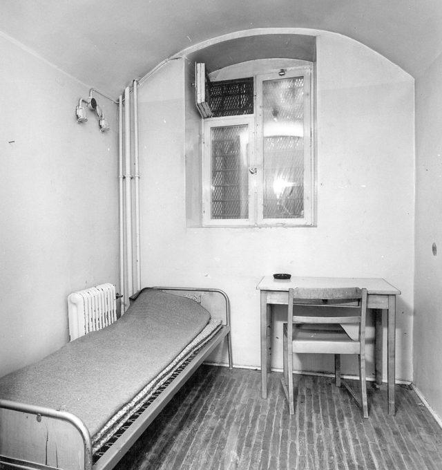 En cell i Östersunds gamla fängelse. Det revs 1970 för att ge plats åt sjukhuset.